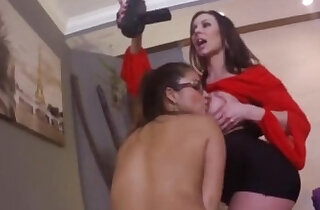Shy college brunette lured for threesome by horny big fake tits milf friend