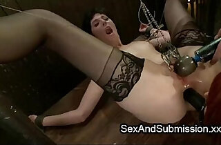 Two babes clamped and fucked by master