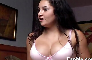 Hot brunette stroking a big penis
