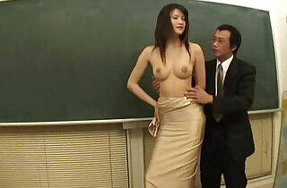 Asian model and art student in classroom sex