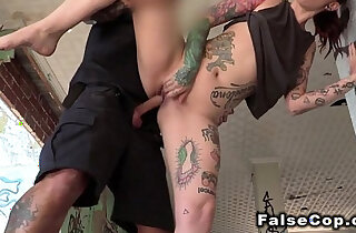 Fake cop bangs tattooed sexy babe outdoor