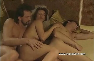 Mom tries to entice her son into threesome fuck with her boyfriend