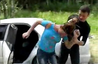 Brunette babe getting pussy Fucked Next to Car