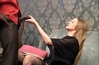 Sweet blonde is about to be buggered by a huge ass black hard cock