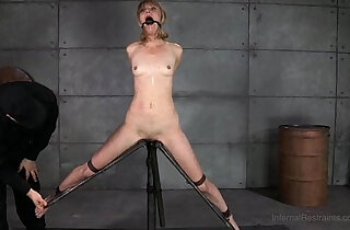 Slender Blonde In Device Bondage