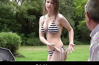 Perfect tits Teen Fucked by Grandpa Outside And Swallows His Cum
