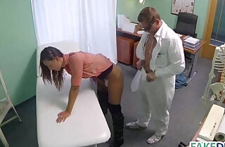 Married woman in a fake hospital
