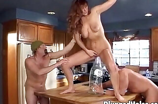 Cute girl getting done in the kitchen