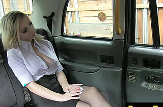 Busty taxi passenger spanked and fucked