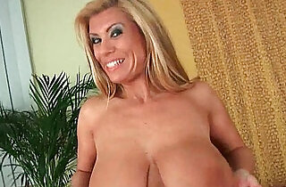 Gilf with big boobs strips off and gets her ass fucked