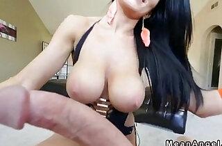 Buxom brunette Romi Rain gets oiled massive tits fucked