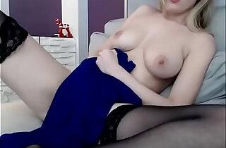 Busty Blonde Masturbates in Stockings on Cam
