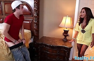 Busty stepmom catches her stepson jerking