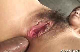 Hairy japanese teacher loves it rough anal