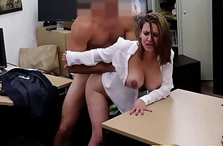 Curvy busty office babe in stockings gets cunt fucked POV