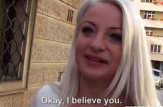 Amateur blonde Eurobabe Anastasia screwed for some money