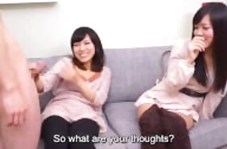 Subtitles CFNM Japanese friend watches blowjob