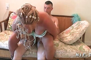 FFM BBW french mature anal plugged and double fucked